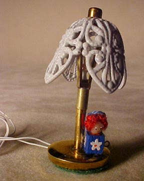 TEC Miniature Raggedy Girl Table Lamp with Tulip Shade 1:24 scale