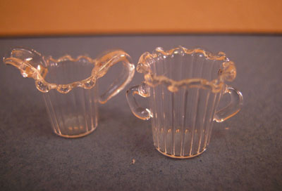 Miniature Glass Creamer and Sugar Bowl 1:12 scale