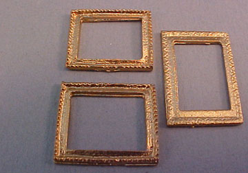 miniature set of three gold picture frames 124 scale - Miniature Frames