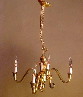The Lighting Bug Handcrafted Four Light Brass Chandelier 1:24 scale