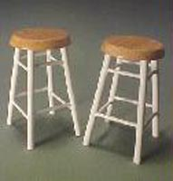 1 1/2 Inches High Pair Of Bar Stools 1:12 scale