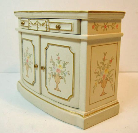 """1"""" Scale JBM Hand Painted White Side Cabinet"""