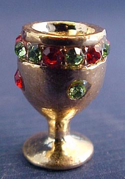 Decorative Gold Chalice with Faux Jewels 1:12 scale