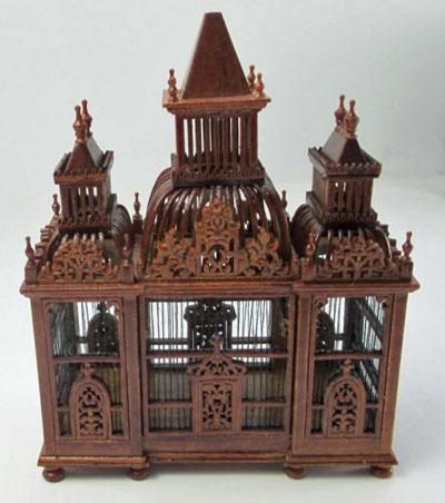 JBM Walnut Bird Cage With Birds 1:12 scale