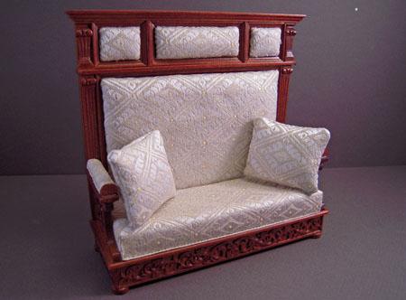 JBM Walnut Upholstered Hall Bench 1:12