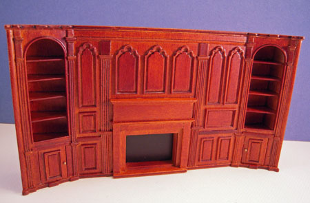 Miniature JBM Walnut Fireplace Wall Unit 1:24 scale