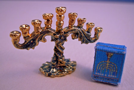 By Barb Patina Menorah With Candles 1:12 scale