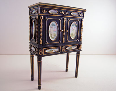 "1"" Scale JBM Black Two Door Chinese Cabinet"