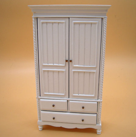 JBM Miniature White Country Wardrobe 1:12 scale