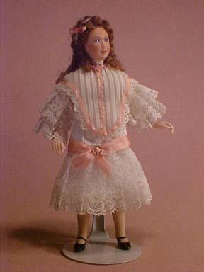 Jo Ann's Originals Young Girl With Pink Lace 1:12 scale