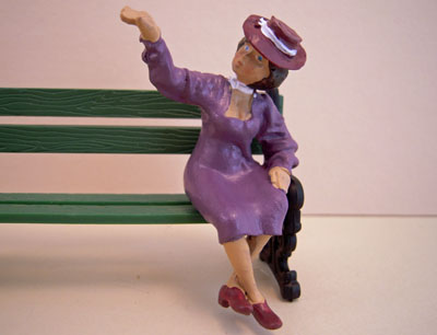 Just Plain Folk Poly-Resin Sitting Lady In Purple 1:24 scale