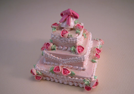 Three Tear Wedding Cakes.Three Tier Wedding Cake With Pink Flowers 1 12 Scale