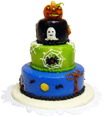Bright deLights Halloween Jack-O-Lantern Three Tier Cake 1:12 scale