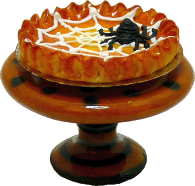 Spider Pumpkin Pie On a Halloween Pie Plate 1:12 scale