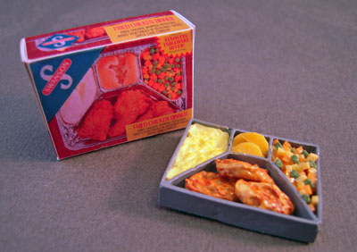 Bright deLights Corn Chicken TV Dinner With A Box 1:12 scale