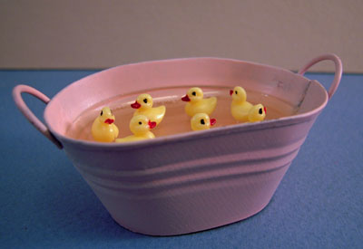 Karen Aird Handcrafted Tub Of Baby Ducks 1:12 scale