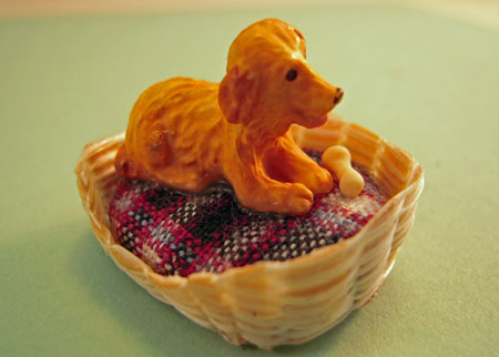 Karen Aird Handcrafted Puppy In A Basket 1:24 Scale