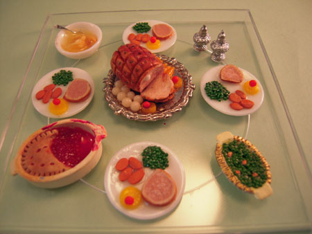 Handcrafted Ham Dinner For Four 1:12 scale