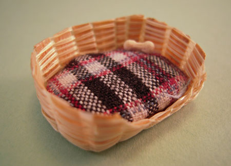 Karen Aird Handcrafted Puppy Basket With A Bone 1:24 Scale