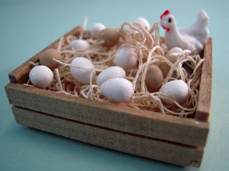 Handcrafted Eggs In A Wooden Crate 1:12 scale