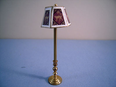 Miniscules Miniature Non-Working Animal Print and Brass Floor Lamp 1:24 scale