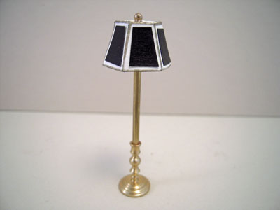 Miniscules Miniature Non-Working Black and Brass Floor Lamp 1:24 scale