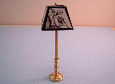 "Miniscules 1/2"" Scale Miniature Non-Working Black Renaissance Brass Floor Lamp"