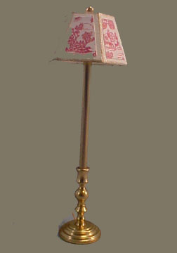 Miniscules Miniature Non-Working Rose and Brass Floor Lamp 1:24 scale