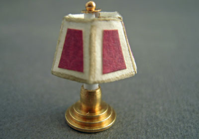 Miniscules Miniature Non-Working Mauve Candlestick Base Table Lamp 1:24 scale