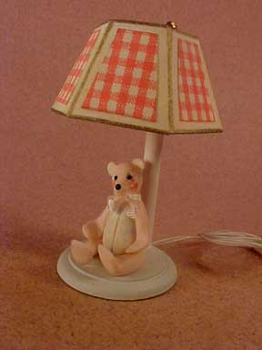 Pink Teddy Nursery Table Lamp 1:12 scale