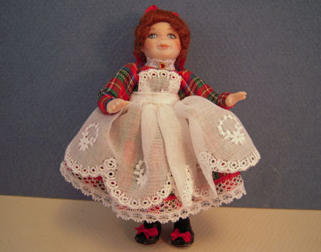 Loretta Kasza Handcrafted April In Red Porcelain Doll 1:12 scale