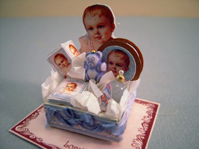 Loretta Kasza Miniature Handcrafted Blue Baby Bath Accessory Box 1:12 scale