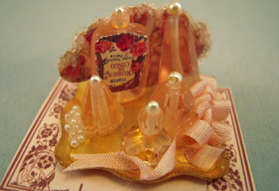 Loretta Kasza Handcrafted Pink Perfume Tray 1:12 scale