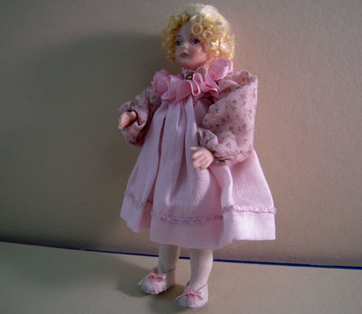 Loretta Kasza Handcrafted Clara In Pink Porcelain Doll 1:12 scale