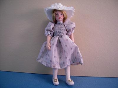 Loretta Kasza Handcrafted Gabriella In Light Blue Porcelain Doll 1:12 scale