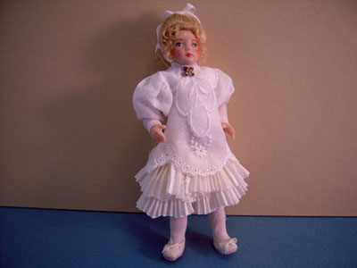 Loretta Kasza Handcrafted Iris In White Eyelet Toddler Porcelain Doll 1:12 scale