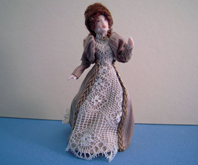 Loretta Kasza Handcrafted Agnes In Brown Stripe & Lace Porcelain Doll 1:24 scale