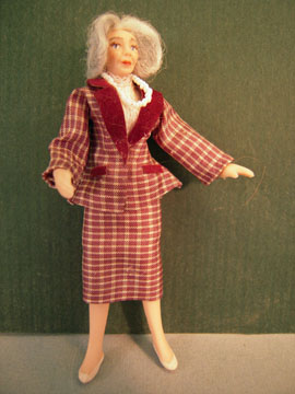 Loretta Kasza Contemporary Margaret In Bergundy Plaid Porcelain Doll 1:24 scale