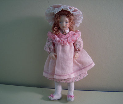 Loretta Kasza Handcrafted Sarah In Pink Jumper and Hat Porcelain Doll 1:12 scale