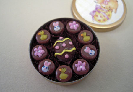 Lola Originals Handcrafted Tin Of Easter Chocolates 1:12 scale