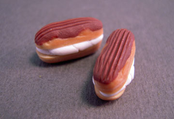 Miniature Pair Of Chocolate Eclairs 1:12 scale
