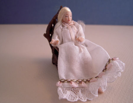 Dolls By Patsy Porcelain Sarah In A White Gown Sitting 1:24 scale