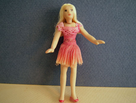 Dolls By Patsy Porcelain Susan In A Pink Short Dress 1:24 scale