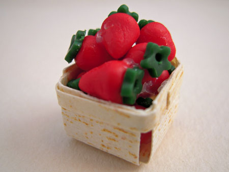 Hand Crafted Basket Of Strawberries 1:12 scale