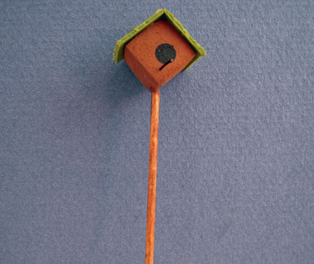 Hand Crafted Bird House On A Pole Dollhouse Miniatures 1:12 scale