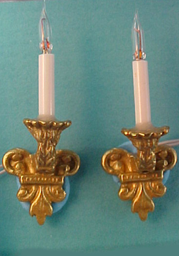Pair of  Brass Filagree Wall Sconces 1:12 scale