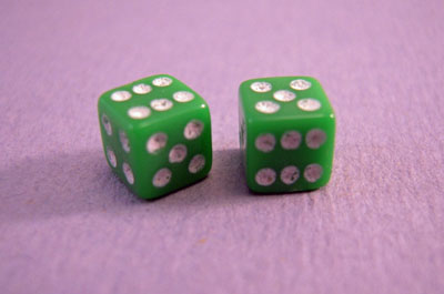 Miniature Green Dice 1:12 scale