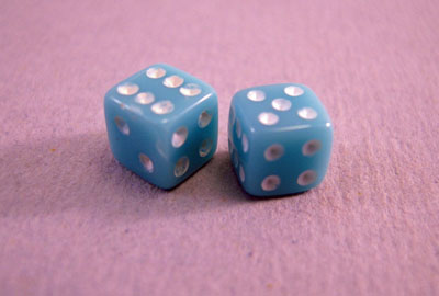 Miniature Blue Dice 1:12 scale