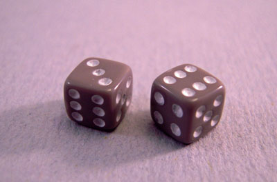 Miniature Gray Dice 1:12 scale