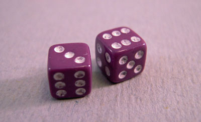 Miniature Purple Dice 1:12 scale